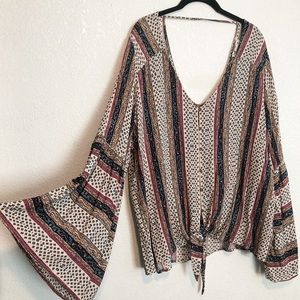 Plus Size Bell Sleeve Boho Top